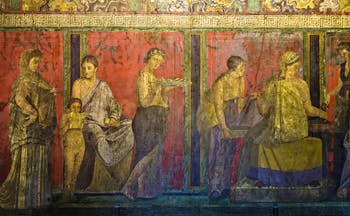 Roman frieze in reds representing the cult of Dionysus on wall of the Villa of the Mysteries in Pompeii