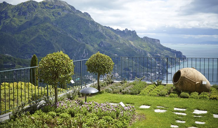 Hotel Caruso Amalfi Coast gardens green lawn shrubs overlooking the sea