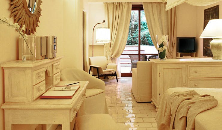 Capri Palace Hotel Amalfi Coast deluxe double bed desk elegant décor garden views