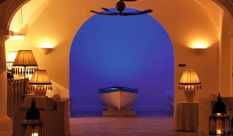 Capri Palace Hotel Amalfi Coast lobby boat lamps modern décor