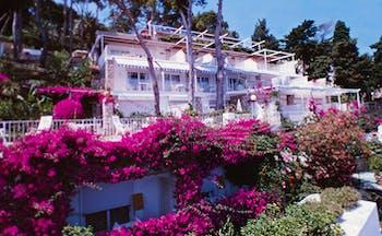 Casa Morgano Amalfi Coast exterior hotel building pink flowers trees terrace