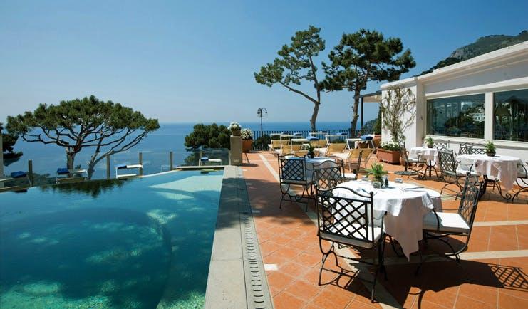 Casa Morgano Amalfi Coast pool terrace infinity pool outdoor dining area sea views