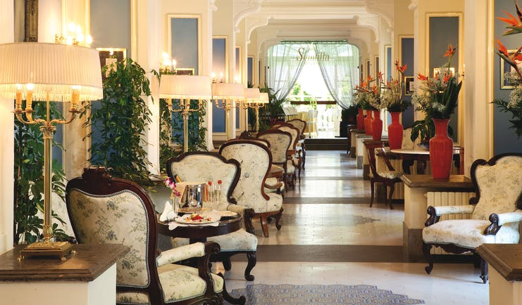 Grand Hotel Cocumella Amalfi Coast hall indoor seating armchairs