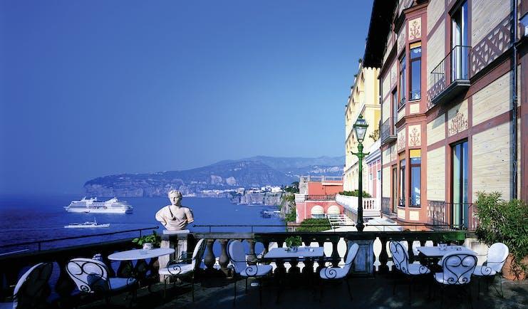 Grand Hotel Excelsior Vittoria Amalfi Coast terrace outdoor dining area overlooking sea