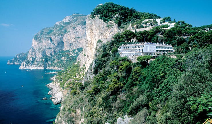 Hotel Luna Capri cliffside hotel exterior shot of hotel nestled on the cliffside