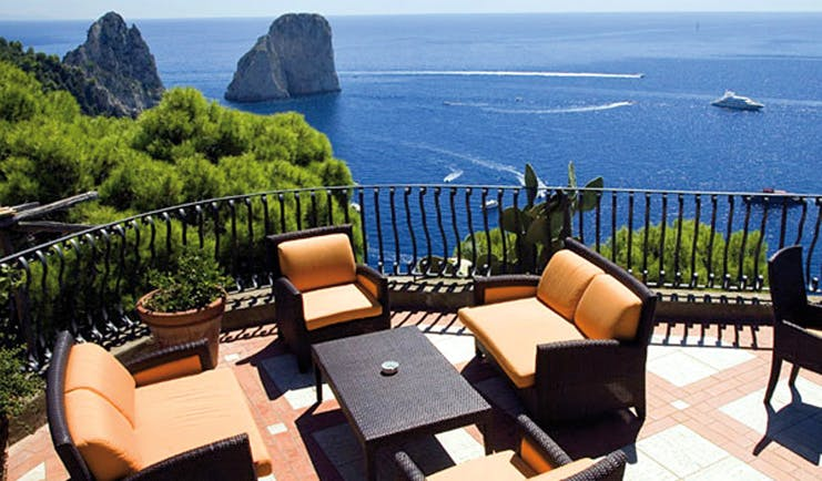 Hotel Luna Capri terrace outdoor seating area overlooking sea