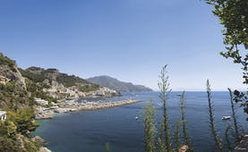 Hotel Miramalfi Amalfi Coast exterior building nestled into cliffside overlooking sea