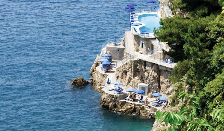 Hotel Miramalfi Amalfi Coast private beach and terrace sea water pool
