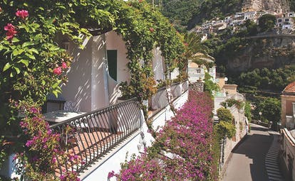 Hotel Poseidon Amalfi Coast balconies with vines growing around them