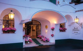 Hotel Poseidon Amalfi Coast entrance exterior flowers in window boxes and on stairs