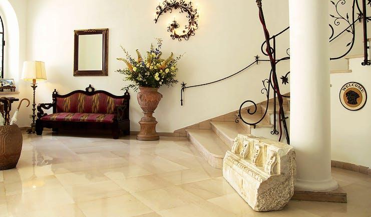 Hotel Poseidon Amalfi Coast lobby bench marble floor tiles staircase