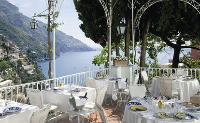 Hotel Poseidon Amalfi Coast outdoor terrace restaurant overlooking the sea