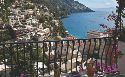 Hotel Poseidon Amalfi Coast superior balcony outdoor dining area overlooking the coast