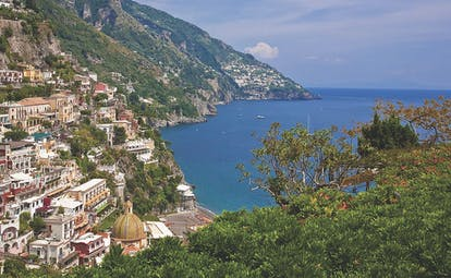 Hotel Poseidon Amalfi Coast view of cliff side town and sea