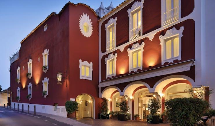 Le Sirenuse Amalfi Coast entrance exterior red building