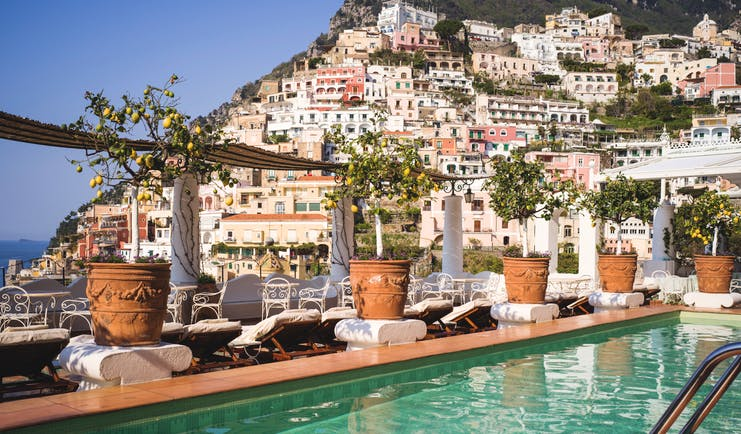 Le Sirenuse Amalfi Coast pool with cliffside Positano in the background