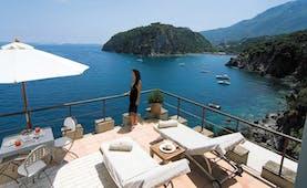 Mezzatorre Resort Amalfi Coast pool terrace sun loungers overlooking the sea