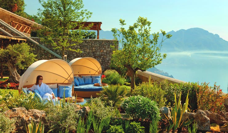Monastero Santa Rosa Amalfi Coast cabanas in gardens overlooking the ocean