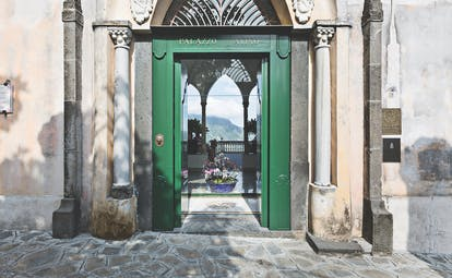 Palazzo Avino Amalfi Coast entrance green door frame