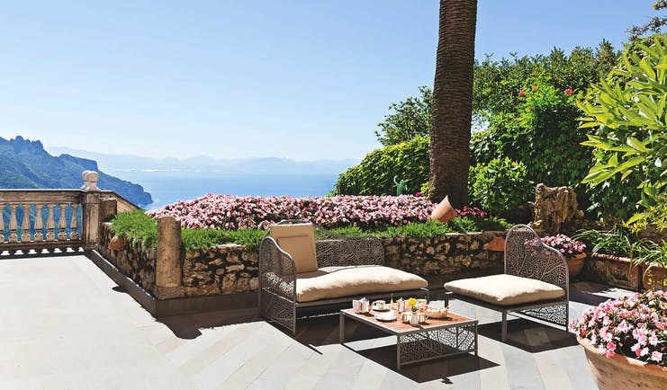 Palazzo Avino Amalfi Coast terrace outdoor seating and casual dining area views of the sea