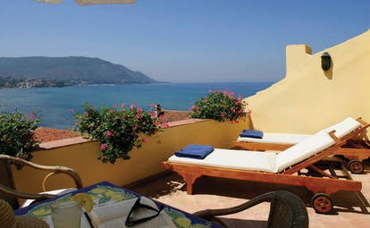 Palazzo Belmonte Amalfi Coast suite terrace sun loungers overlooking the sea
