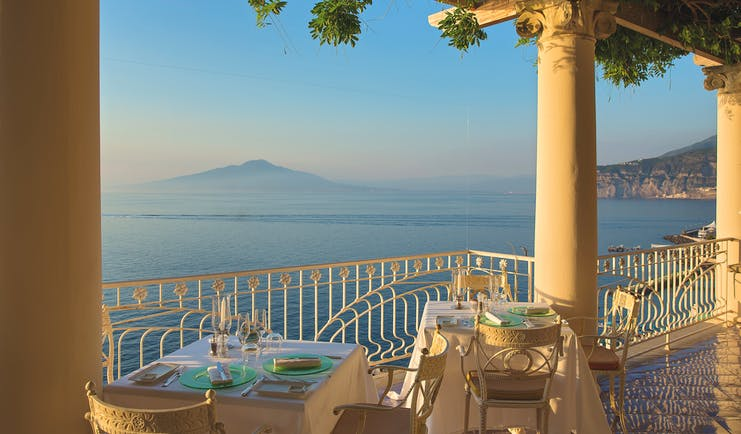 Bellevue Syrene Amalfi Coast pergola terrace dining overlooking the sea
