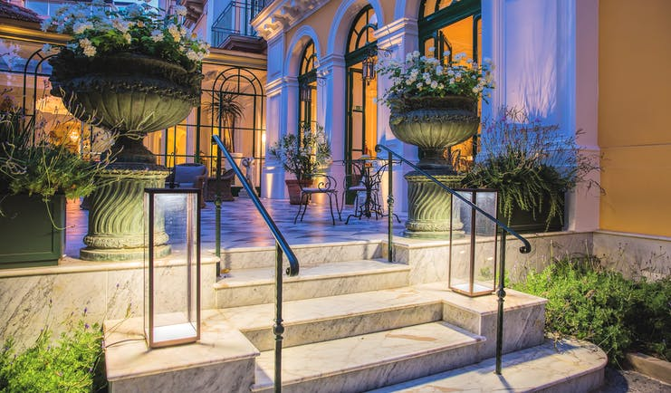 Bellevue Syrene Amalfi Coast reception exterior marble steps flowers in vases
