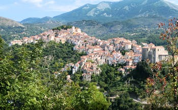 Mediaeval town of Rivello on hilltop in Basilicata, known for its goldsmiths