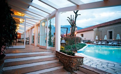 La Locanda Delle Donne Monache Basilicata poolside dining room leading to pool