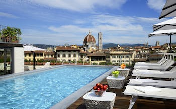Grand Hotel Minerva Florence blue waters of rooftop pool