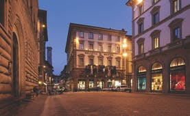 Helvetia and Bristol Florence hotel exterior by night