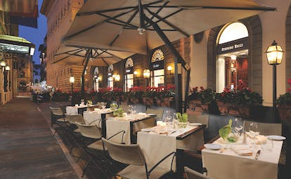 Helvetia and Bristol Florence terrace outdoor dining area streets of Florence