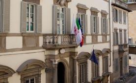 Relais Santa Croce Florence exterior hotel building flags Italian flag European union flag