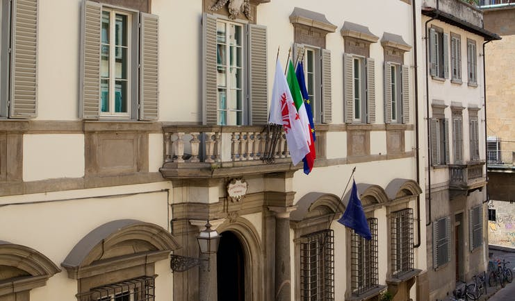 Relais Santa Croce Florence exterior hotel building flags Italian flag European union flag