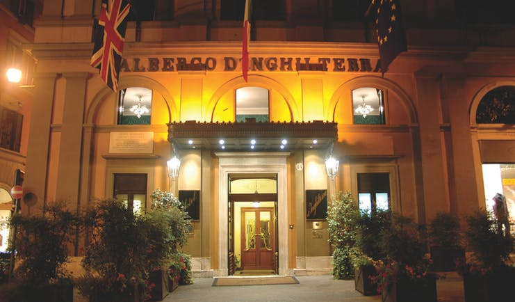 Hotel d'Inghilterra Rome exterior at night hotel building entrance
