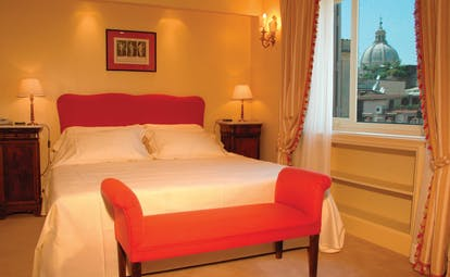 Hotel d'Inghilterra Rome guestroom bed modern décor city views