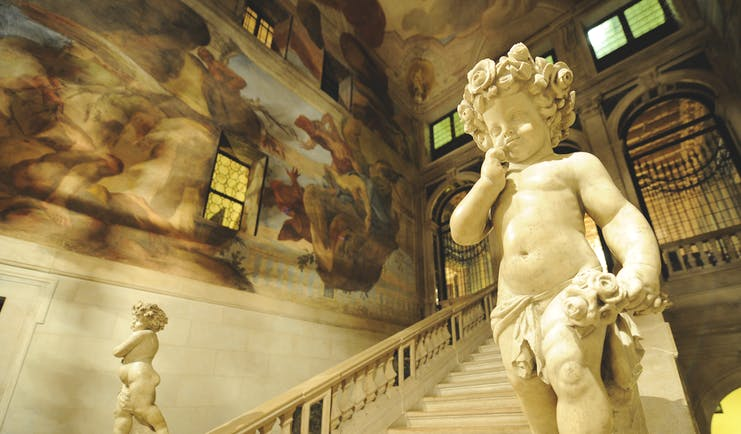 Ca Sagredo Venice staircase marble floors statues frescoed walls