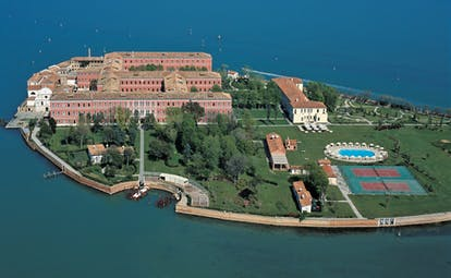 San Clemente Palace Venice island hotel private island lawns pool sea
