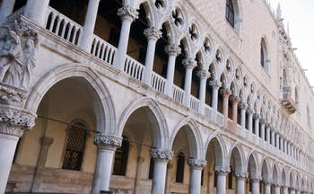 Pink marble ornate exterior of Doge's Palace in Venice