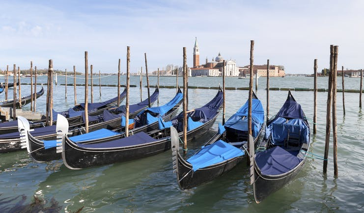 Row of gondolas with blue covers moored to posts opposite San Giorgio Maggiore Venice