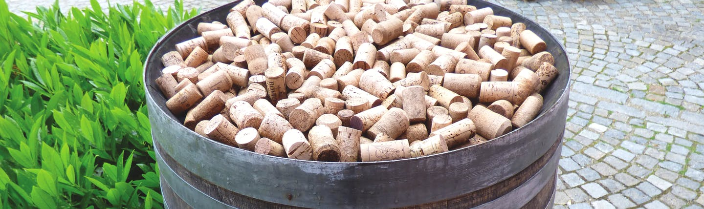 Barrel of wine bottle corks