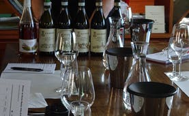 Bottles and glasses of wine on table for tasting