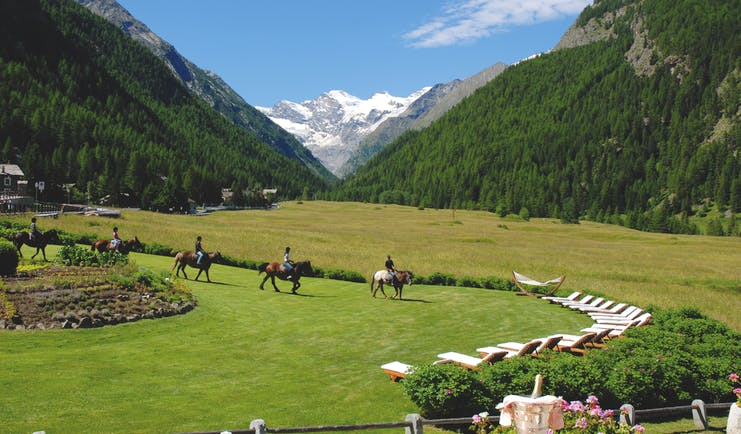 View of the scenery from the Bellevue hotel and spa looking over the italian alps