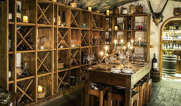 Hotel Hermitage Italy Alps fine dining wine cellar