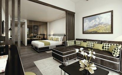Hotel Hermitage Italy Alps premium suite bed large sofa mirrored wardrobes
