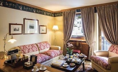 Hotel Hermitage Italy Alps  superior suite lounge area sofa coffee table