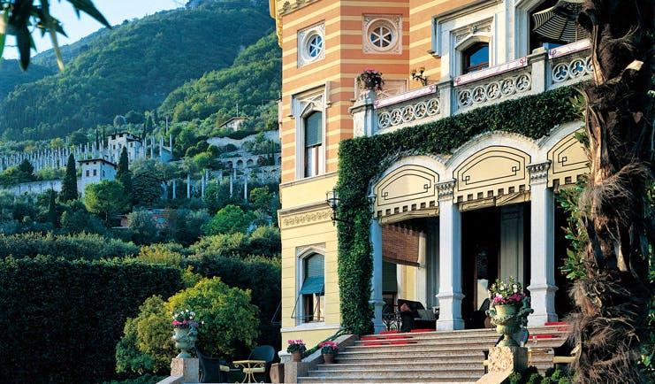 Villa Feltrinelli Lake Garda hotel building entrance ornate architecture