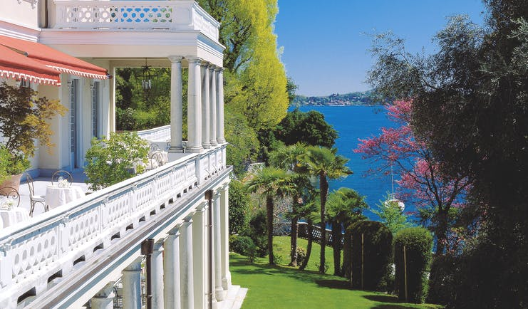 Grand Hotel Majestic Lake Maggiore balcony outdoor seating area overlooking Lake Maggiore