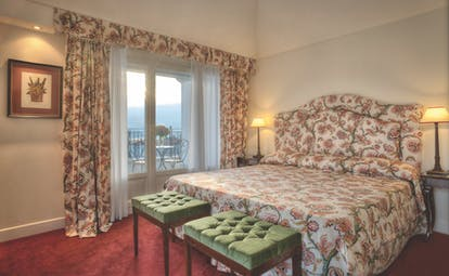 Grand Hotel Majestic Lake Maggiore executive suite bedroom traditional décor side view of lake