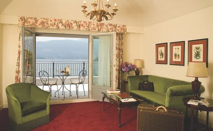 Grand Hotel Majestic Lake Maggiore suite lounge traditional décor terrace with views over lake